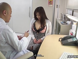 Depraved chubby Japanese lady Satomi Katayama is on the very point of suck several cocks