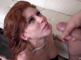 Redhead wife Brookly Lee fucked balls deep and foodstuffs all of the cum
