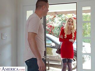 Lady in red Get-up Mercer fucks her neighbor and that chick got some big tits