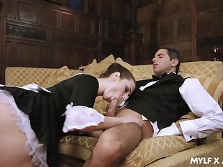 Naughty maid Paige Turnah gives a blowjob close to horny butler