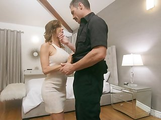 Officialdom officer fucks juggy wife Alexis Fawx in front of her husbands