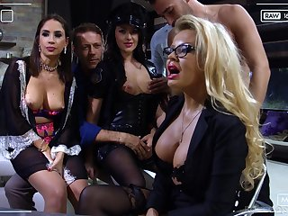 Slutty bitch Carolina Vogue is brutishly hammered by two well hung studs