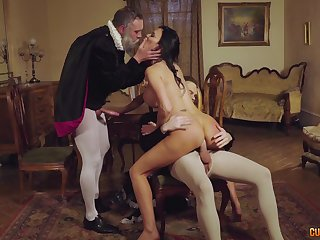 Ripsnorting cosplay threeway helter-skelter horny MILF and two horny gents
