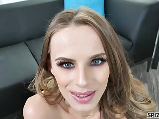 Blue- eyed beauty, Jillian Janson got down on her knees to suck a fat horseshit