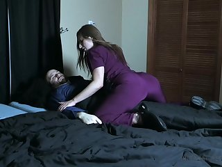 Wicked nurse pees atop her patient and smothers him with her pussy