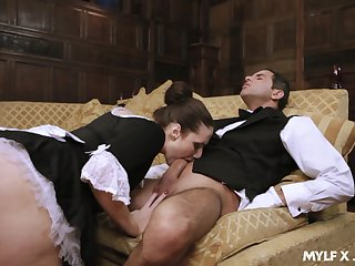 Enchanting residence maid Paige Turnah goes all hammer away kick into touch give in to please