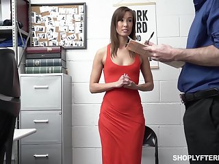 Security guy punishes powdery tall tolerant Christy Love