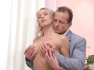 Older man deep drills this classy doll until the sperm covers will not hear of cunt