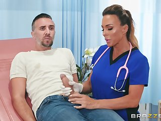 Hot nurse Aubrey Black knows how to get a woman back on his feet