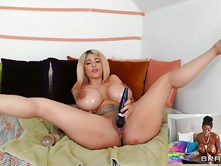 Busty nude kirmess around amazing lesbian video lure with inky wife
