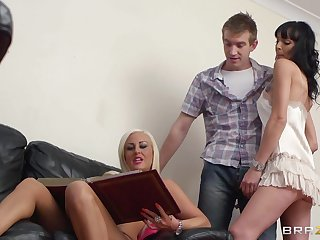 Brunette chick Lena Franks about fake boobs gets fucked by a liberal dick