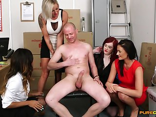 Guy fro a huge dick gets pleasured off out be required of one's mind four be required of cock hungry models